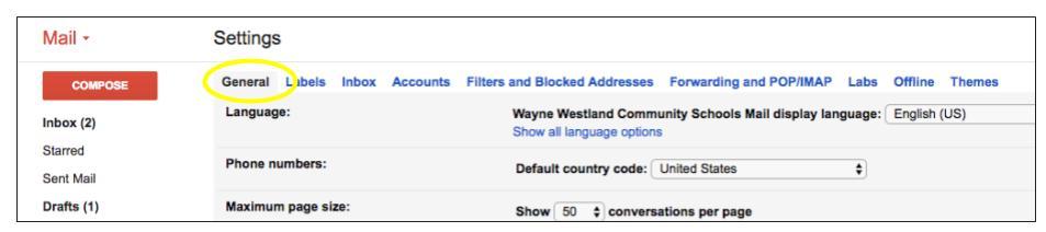 Gmail settings screenshot