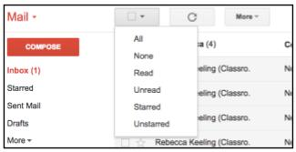 Gmail middle menu options including checkbox dropdown menu