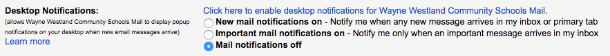 desktop notifications settings options