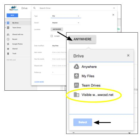 Google Drive Location menu