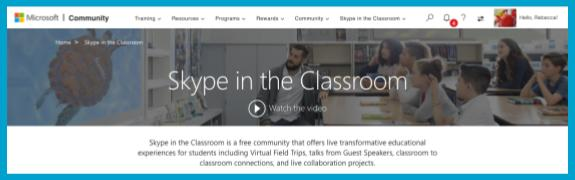 Skype in the Classroom Website header