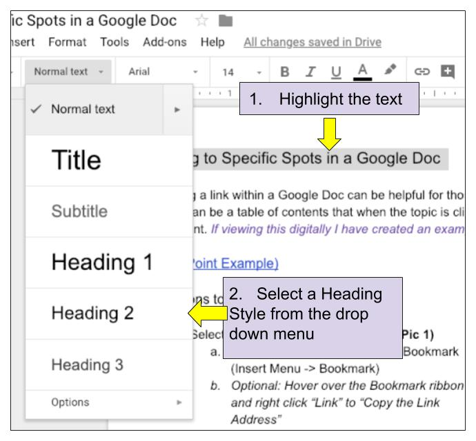 Linking within a Google Doc