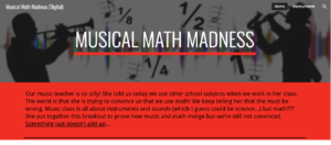 Musical Math Madness Digital Breakout