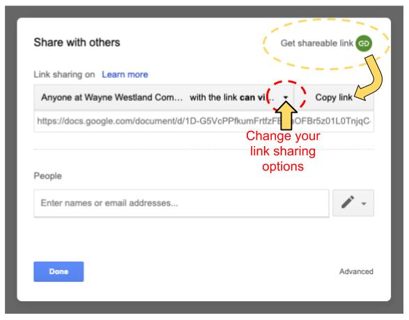 Link sharing in Google