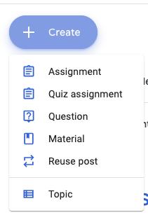 Google Classroom 2019 Classwork options