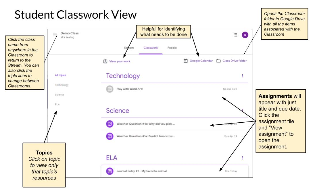 Google Classroom Student Classwork Tab View