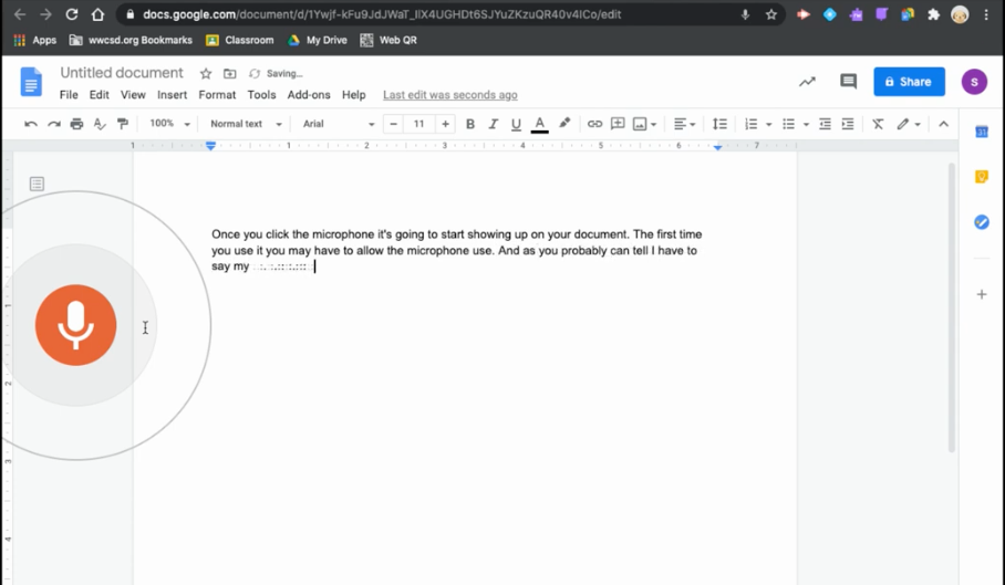 Google Docs Voice Typing (Oct 2020)