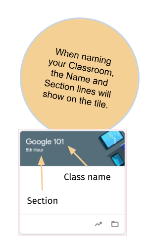 Name and Section lines will show on the tile - Google Classroom
