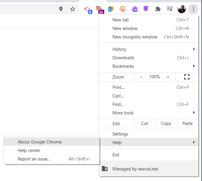 visual of menu selection to update Chrome browser