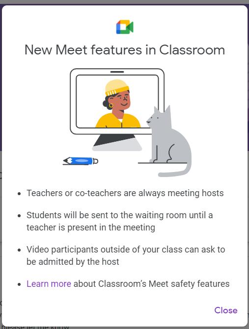 Google Classroom pop-up announcing Meet updates (Oct 2021)