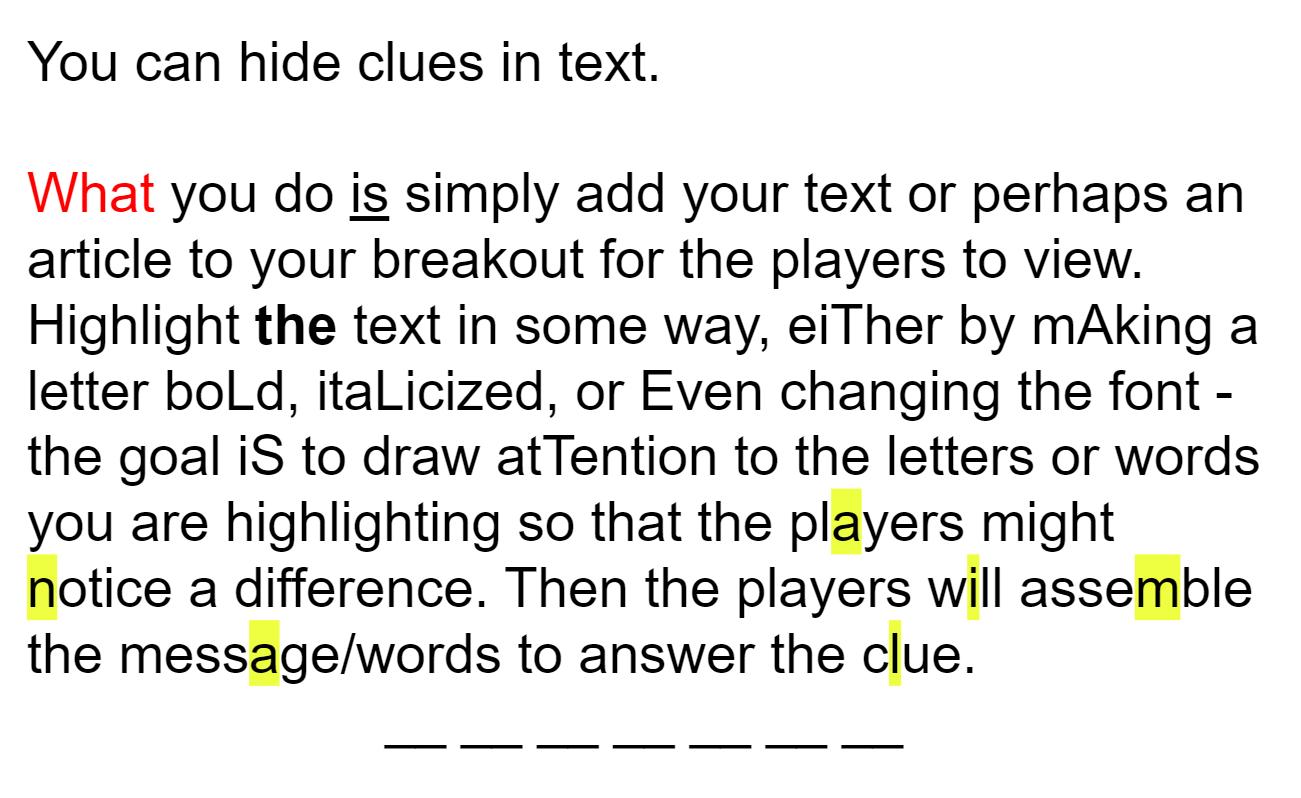 Breakout Sample - Hiding Text